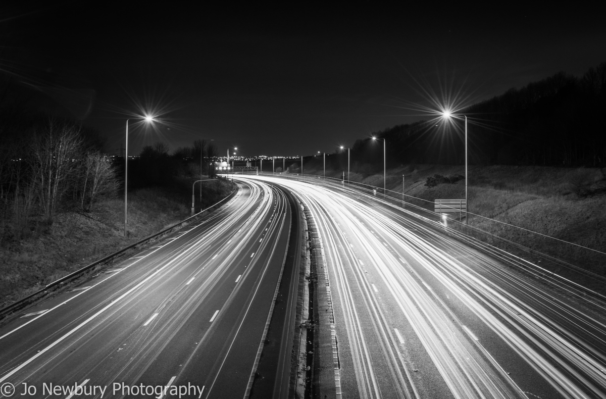 Jo Newbury Photography fineart M62 light trails on long exposure